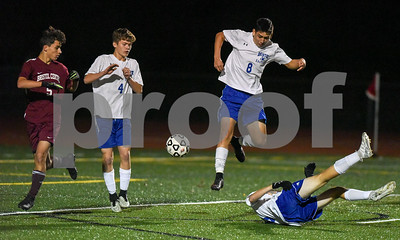 10/30/17  Wesley Bunnell | Staff  Bristol Central @ Bristol Eastern on Monday evening at Bristol Eastern High School. Diego Naranjo (5), Bristol Eastern's Gabe Soucy #4 and Bristol Eastern's Dante Constantiello #8.