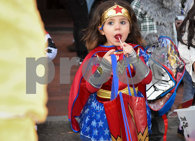 10/31/17  Wesley Bunnell | Staff  The New Britain Trick or Treat Halloween Safe Zone drew a large crowd to Central Park on Halloween night. Brianna Collazo, age 4, enjoys her lollypop.