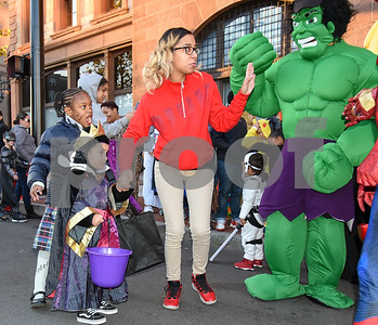 10/31/17  Wesley Bunnell | Staff  The New Britain Trick or Treat Halloween Safe Zone drew a large crowd to Central Park on Halloween night.  A young tick or treater cautiously approaches The Hulk.