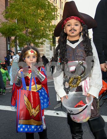 10/31/17 Wesley Bunnell | Staff The New Britain Trick or Treat Halloween Safe Zone drew a large crowd to Central Park on Halloween night. Brianna Collazo, age 4, and brother Jabriel Collazo, age 9.