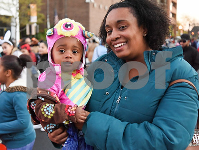 10/31/17  Wesley Bunnell | Staff  The New Britain Trick or Treat Halloween Safe Zone drew a large crowd to Central Park on Halloween night.  Janel Davis holds 18 month old daughter Callie.