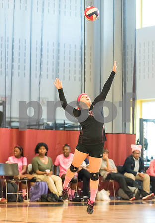 10/03/17 Wesley Bunnell | Staff Innovation High School defeated MLC in girls volleyball on Tuesday afternoon at Innovation. Morgan Sartor (4) serves.