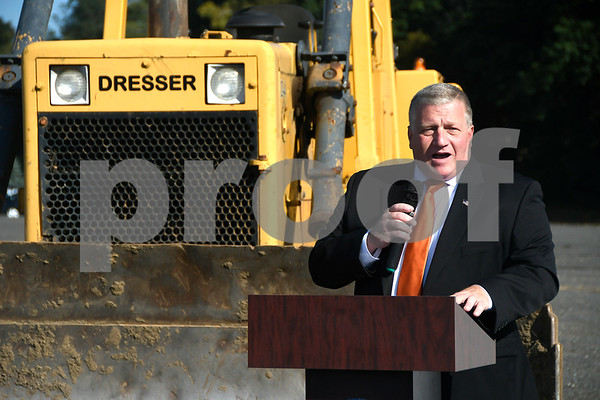 10/3/2017 Mike Orazzi | Staff Bristol Mayor Ken Cockayne during the ground breaking for the the access road in Centre Square in downtown Bristol Tuesday morning.