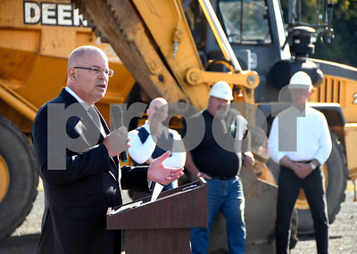 10/3/2017 Mike Orazzi | Staff Kurt Barwis,President and CEO of Bristol Hospital, during the ground breaking for the the access road in Centre Square in downtown Bristol Tuesday morning.