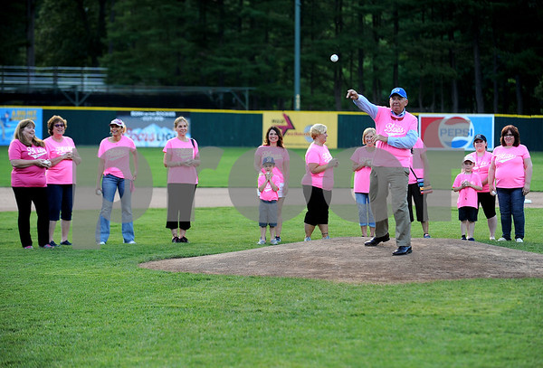 6/23/2017 Mike Orazzi | Staff John Lodovico throws out one of the first pitches during the Bristol Hospital Pink Night at Muzzy Field.