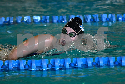 10/3/2017 Mike Orazzi | Staff Plainville's Phoebe Gediman during Tuesday's swim meet with Bristol Eastern.