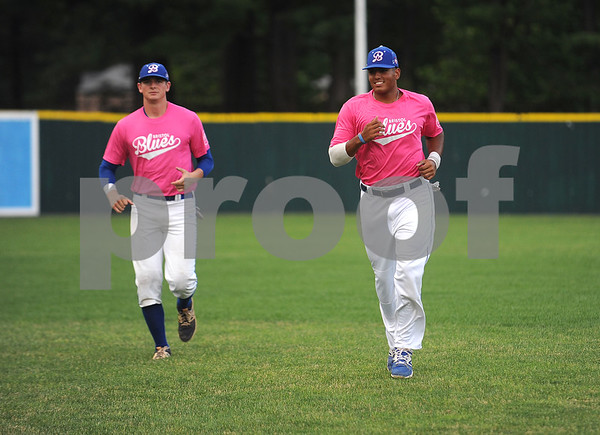 6/23/2017 Mike Orazzi | Staff Bristol Blues' Garrett Blaylock (39) and Nick Rubino (14) and during the Bristol Hospital Pink Night at Muzzy Field.