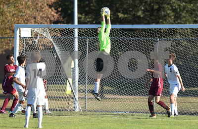 10/04/17  Wesley Bunnell | Staff  Newington boys soccer vs Bristol Central on Wednesday evening at Newington High School. Newington goalkeeper Jack DeGirolamo (0).