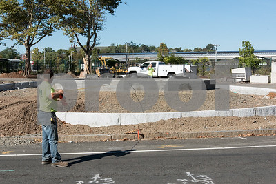 10/04/17  Wesley Bunnell | Staff  Phase 4 of the streetscape project continues on Wednesday afternoon on Columbus Boulevard as workers are shown measuring to find the center of a pedestal in the middle of the intersection.