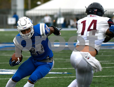 10/7/2017 Mike Orazzi | Staff CCSU's Drew Jean-Guillaume (20) during Saturday's football game with the Penn Quakers in New Britain.