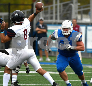 10/7/2017 Mike Orazzi | Staff CCSU's Landon Reecher (98) during Saturday's football game with the Penn Quakers in New Britain.