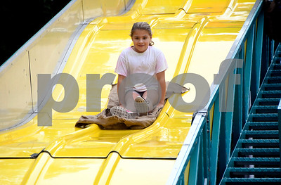 10/7/2017 Mike Orazzi | Staff Maria Leone,9, on the slide during the 49th Apple Harvest Festival in Southington Saturday.