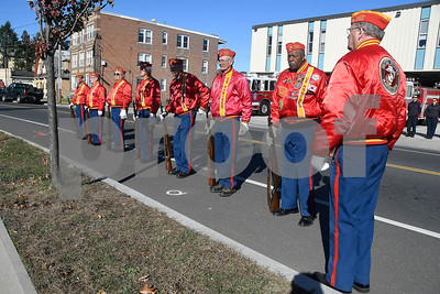 11/11/2017 Mike Orazzi | Staff Members of the Marie Corps League while at The 65th Infantry Regiment Park, at the intersection of Beaver Street, LaSalle and Farmington Avenue in New Britain Saturday for one of the city's veterans day ceremonies.