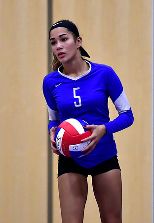 10/25/2018 Mike Orazzi | Staff Plainville's Samantha Lozefski (5) during a loss to Kennedy during girls volleyball in Plainville Thursday night.