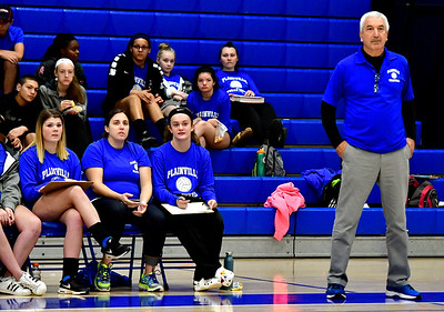 10/25/2018 Mike Orazzi | Staff Plainville Volleyball Coach Bob Moffo	 during a loss to Kennedy during girls volleyball in Plainville Thursday night.