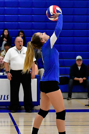 10/25/2018 Mike Orazzi | Staff Plainville's Victoria Corriveau (4)during a loss to Kennedy during girls volleyball in Plainville Thursday night.