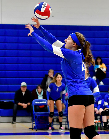 10/25/2018 Mike Orazzi | Staff Plainville's Olivia Gajor (15) during a loss to Kennedy during girls volleyball in Plainville Thursday night.