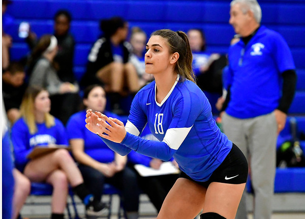 10/25/2018 Mike Orazzi | Staff Plainville's Katharine Tanguay (18) during a loss to Kennedy during girls volleyball in Plainville Thursday night.