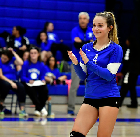 10/25/2018 Mike Orazzi | Staff Plainville's Victoria Corriveau (4) during a loss to Kennedy during girls volleyball in Plainville Thursday night.