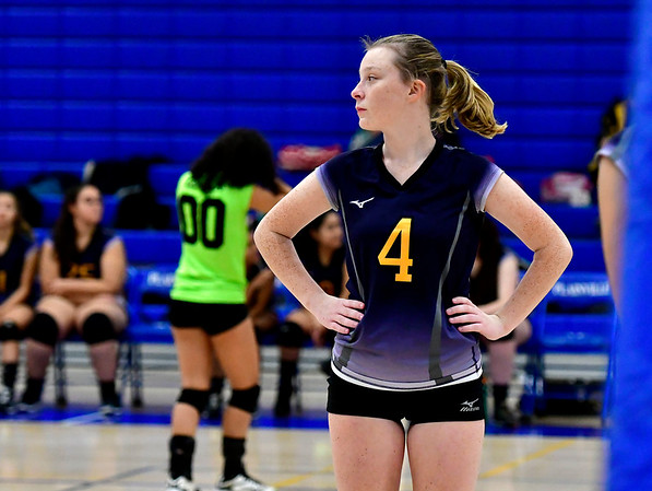 10/25/2018 Mike Orazzi | Staff Kennedy High School's Marin Delaney (4) during a win over Plainville at girls volleyball at Plainville High School Thursday night.