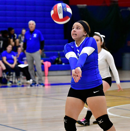10/25/2018 Mike Orazzi | Staff Plainville's Kaylie Hall (6) during a loss to Kennedy during girls volleyball in Plainville Thursday night.