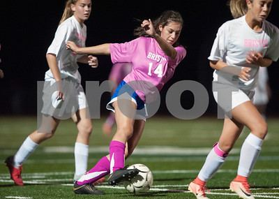 10/01/18  Wesley Bunnell | Staff  Bristol Eastern girls soccer vs Bristol Central on Monday evening at Bristol Eastern High School. Eastern's Kailey Laprise (14).