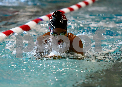 10/5/2018 Mike Orazzi | Staff Bristol Central's Mackenzie Pina during Friday's girls swim meet with Plainville in Bristol.