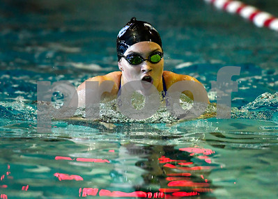 10/5/2018 Mike Orazzi | Staff Plainville's Morgan Rogers during Friday's girls swim meet with Bristol Central.