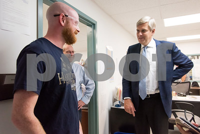 10/05/18  Wesley Bunnell | Staff  Republican candidate for Governor Bob Stefanowski visited manufacturer Admill Machine in New Britain on Friday afternoon on the first of two stops in the city. Employee and New Britain native Todd Cheney , L, talks with Stefanowski during a tour of the plant.