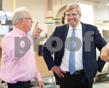 10/05/18  Wesley Bunnell | Staff  Republican candidate for Governor Bob Stefanowski visited manufacturer Admill Machine in New Britain on Friday afternoon on the first of two stops in the city.  Stefanowski, R, smiles as salesperson Al Parlow speaks during a tour of the manufacturing floor.