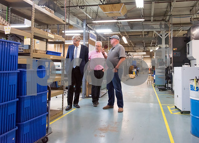 10/05/18  Wesley Bunnell | Staff  Republican candidate for Governor Bob Stefanowski visited manufacturer Admill Machine in New Britain on Friday afternoon on the first of two stops in the city.  Stefanowski , L, takes a tour of the plant with salesperson Al Parlow, middle, and President Jeff Hiller.