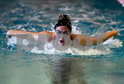 10/5/2018 Mike Orazzi | Staff Bristol Central's Samantha Chapman during Friday's girls swim meet with Plainville in Bristol.