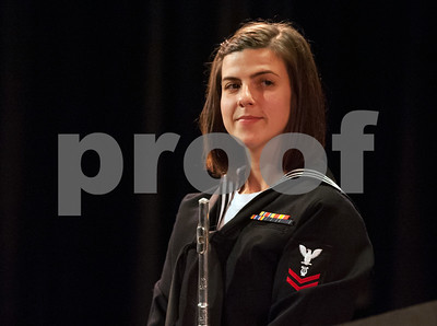 10/04/18  Wesley Bunnell | Staff  Navy Band Northeast held a Salute to Veterans concert on Oct. 4 at McGee Middle School in Berlin. Musician Second Class Haley Cameron.