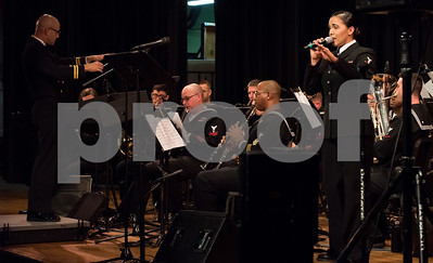 10/04/18  Wesley Bunnell | Staff  Navy Band Northeast held a Salute to Veterans concert on Oct. 4 at McGee Middle School in Berlin. Musician 3rd Class Cristiana Villalva sings.