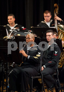 10/04/18  Wesley Bunnell | Staff  Navy Band Northeast held a Salute to Veterans concert on Oct. 4 at McGee Middle School in Berlin. Clarinetist Musician First Class Phillip Martin .