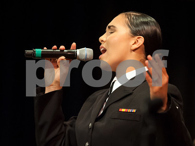 10/04/18  Wesley Bunnell | Staff  Navy Band Northeast held a Salute to Veterans concert on Oct. 4 at McGee Middle School in Berlin. Musician 3rd Class Cristiana Villalva.