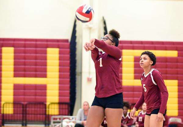 10/10/18 Wesley Bunnell | Staff New Britain volleyball vs Platt on Wednesday evening at New Britain High School.