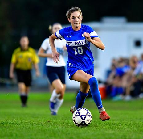10/10/2018 Mike Orazzi | Staff St. Paul Girls Soccer's Reagan Davis (10) ) at SPCHS Wednesday night.