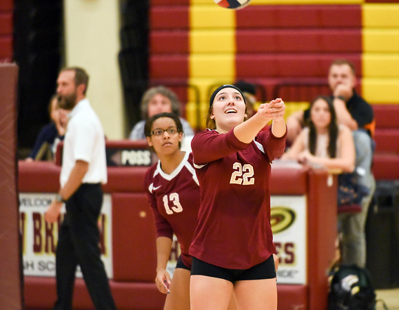 10/10/18 Wesley Bunnell | Staff New Britain volleyball vs Platt on Wednesday evening at New Britain High School. Audrey Beliveau (22).