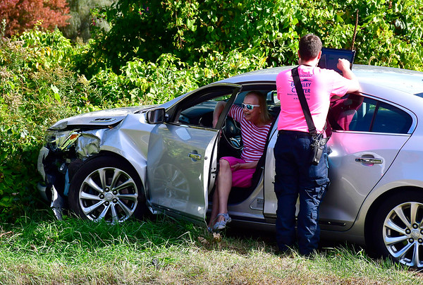 10/10/2018 Mike Orazzi | Staff One of the two cars involved in a crash on Burlington Avenue Wednesday afternoon. One person was transported by ambulance.
