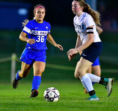 10/10/2018 Mike Orazzi | Staff St. Paul Girls Soccer's Isabella Griffin (36) SPCHS Wednesday night.