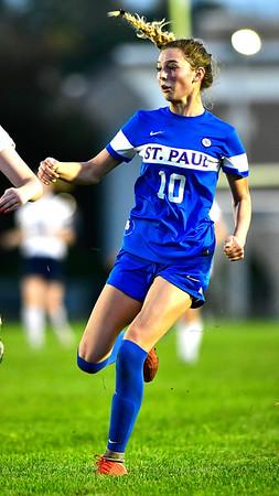 10/10/2018 Mike Orazzi | Staff St. Paul Girls Soccer's Reagan Davis (10) scores at SPCHS Wednesday night.