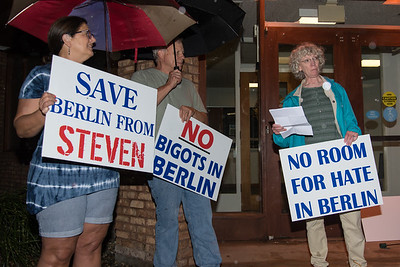 10/11/18  Wesley Bunnell | Staff  17 protestors stood outside of the Berlin Board of Education Department on Thursday evening to protest comments made by Republican candidate for the 30th district Steven Baleshiski. Barbara Coughlin, R, kicked off one of several speeches from the crowd as Rose and David Weed look on.