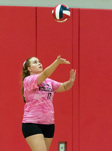 10/11/18  Wesley Bunnell | Staff  Newington volleyball defeated Berlin at Berlin High School 3-0 on Thursday night. Berlin's Rachael Meade (17).