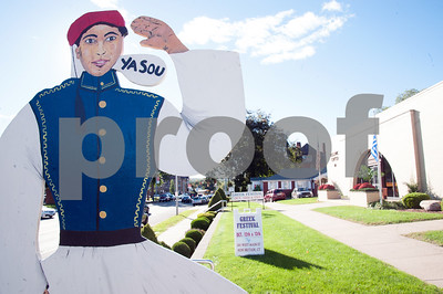 10/12/18  Wesley Bunnell   Staff  A sign greets visitors near the entrance to St. George Greek Orthodox Church on Friday on the first day of the fall festival which is being held through Sunday.
