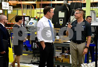 10/12/2018 Mike Orazzi   Staff U.S. Senator Chris Murphy (D-Conn.) talks with Novo Precision President Bill Hazard during a factor tour Friday afternoon.