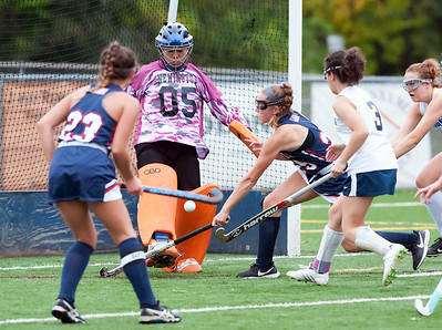 10/15/18  Wesley Bunnell | Staff  Newington field hockey vs Avon on Monday afternoon. Goalkeeper Sharon Sherpa (5) with a save.