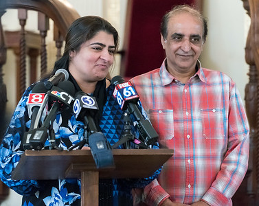 10/16/18  Wesley Bunnell | Staff  Zahida Altaf and Malik Naveed Vin Rehman speak during a press conference at the First Congregational Church of Old Lyme on Tuesday afternoon. The conference was held to announce the couple will return home to New Britain while awaiting their deportation case which is pending before the 2nd Circuit Court of Appeals.  The couple had taken sanctuary at the church in March after being ordered by Customs Enforcement (ICE) to leave the United States by March 19th.