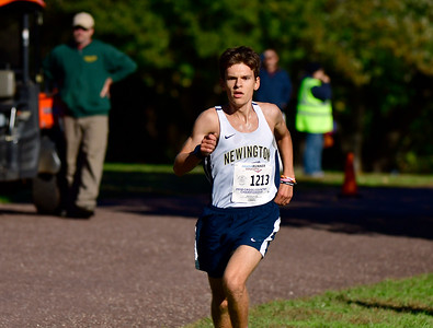 10/16/2018 Mike Orazzi | Staff Newington's Aiden Toth finishes 9th during the CCC Conference Cross Country Championships in Manchester's Wickham Park Tuesday.