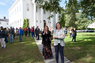 10/16/18  Wesley Bunnell | Staff  Old Lyme Selectwoman Mary Jo Nosal, middle left, and Allison Hine stand outside of First Congregational Church of Old Lyme on Tuesday afternoon along with other well wishers as the Rev. Steve Jungkeit drives Zahida Altaf and Malik Naveed Vin Rehman back home to New Britain from the church. The couple held a press conference announcing they were leaving sanctuary at the church while awaiting their deportation case which is pending before the 2nd Circuit Court of Appeals.  The couple had taken sanctuary at the church in March after being ordered by Customs Enforcement (ICE) to leave the United States by March 19th.
